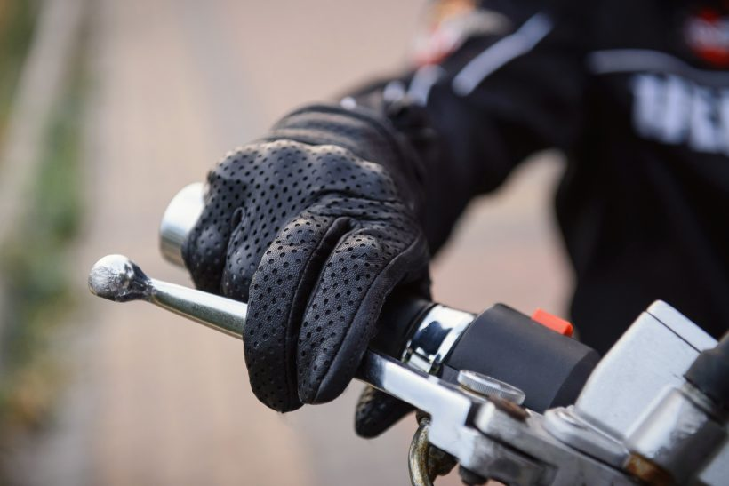 gant de moto en cuir tissu